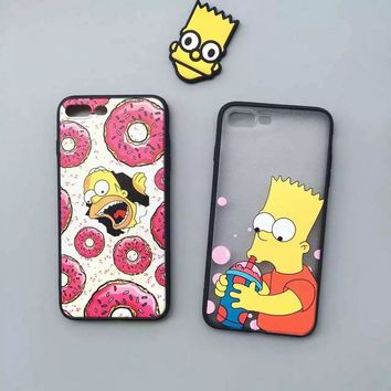 New Arrival Luxury Donut Case Black Frame Cute Cartoon The Simpsons Phone Case For Apple iPhone 7 4.7inch 7 Plus Back Cover Case