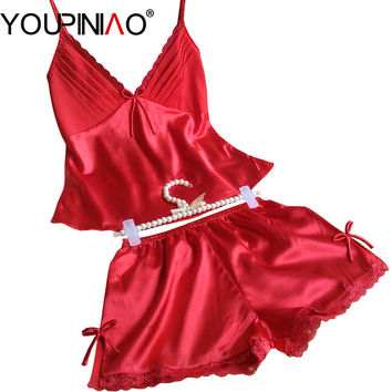 Fashion Summer Silk Women's Pajamas Sets Sleeveless Sleepwear Spaghetti Strap Lace Sexy Ladies Femme Pyjamas PJS Set