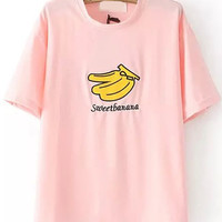 Sweet Banana Graphic Embroidered Pink T-shirt