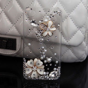 FREE WORLDWIDE SHIPPING iPhone 4S 4 case Crystals Pearls flowers Clear Transparent cover