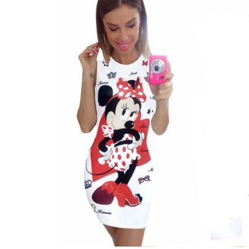 Summer Sleeveless White Minnie Mouse Print Sexy Mini Dress