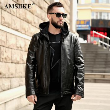 AMSIIKE 2017 Autumn Hooded Coat Genuine Leather Jacket Men New style Sheepskin Chaqueta Black Casual Plaid Hoodie Coat A16050