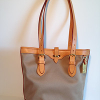 Pristine Vintage Dooney & Bourke Canvas Cabriolet Tote Small Bucket Bag Natural and Tan