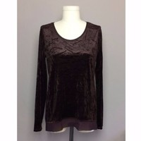 Simply Vera Wang Chocolate Brown Crushed Velvet Blouse Sz M