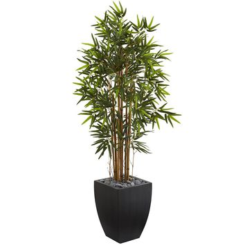 Artificial Silk Tree -5 Ft Bamboo Tree In Black Wash Planters