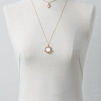 AEO Rose & Stone Layered Necklace, Rose Gold