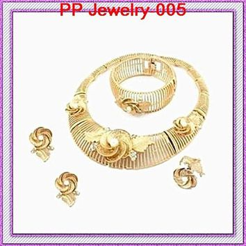 Good Quality!!Gold Color Luxury Wedding Huge Rose Flower Wedding Women Jewelry Sets Necklace Earrings Bangle Ring Jewelry