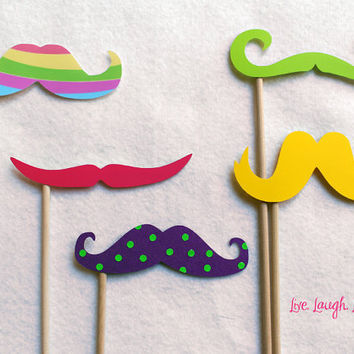 Easter Mustache on a Stick Set Vibrant colors by livelaughlovelots