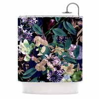 "Victoria Krupp ""Midnight Garden"" Black Multicolor Digital Shower Curtain - Outlet Item"