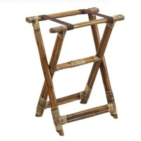 Foodservice Tray Stand, with 2 Lower Leg Extra Supports and 2 Chocolate Brown Cloth Straps, Rattan, Natural Finish