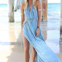 Womens Summer Casual Celebrity Long Split Chiffon Evening Prom Boho Beach Dress