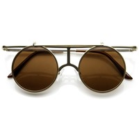 Steampunk Vintage Inspired Crossbar Flip Up Metal Sunglasses 8972