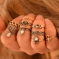 New 10pcs/Set Famous Brand Vintage Ring Set Unique Carved Crystal Knuckle Rings for Women Boho Beach Jewelry