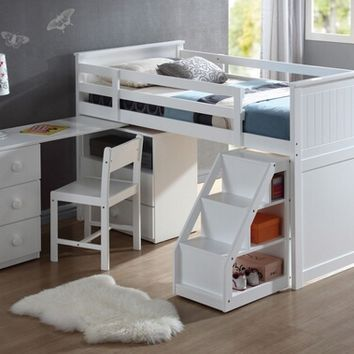 Acme 19405-12 Wyatt white finish wood twin size loft bed with pull out desk work station underneath and slide out stairs with storage