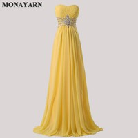 Women Fashion Free Shipping Strapless Chiffon Formal Party Dress Long Evening Dresses 2017 hot Yellow Floor Length Prom Gowns