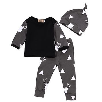 Cute Infant Baby Girl Boy Clothes Deer Tops T-shirt+Pants Leggings Hat 3pcs Outfits Kids Clothing Set 0-24M
