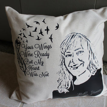 Photo Memorial Pillow - Personalized In Loving Memory Birds & Angel Feathers Heirloom Pillow with Quotation Typography Cushion