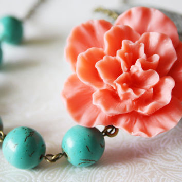 Turquoise Necklace - Rose Necklace - Asymmetrical Necklace - Bridesmaid Jewelry - Wedding Necklace - Pastel Wedding - Katarina