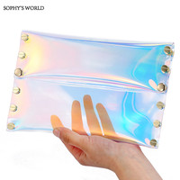 2017 Summer Hologram Women Handbags Small Day Clutches Purse Rivet Clear Envelope Bag Causal Party Evening Bags For Women