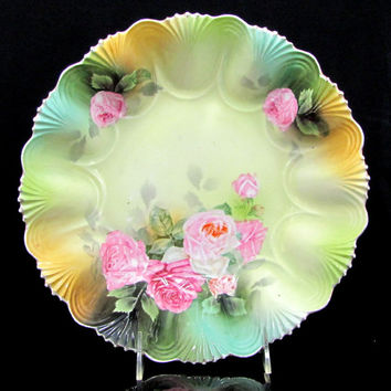 Vintage RS PRUSSIA ROSE Bowl Pink Green Floral Porcelain Antique 10.5""