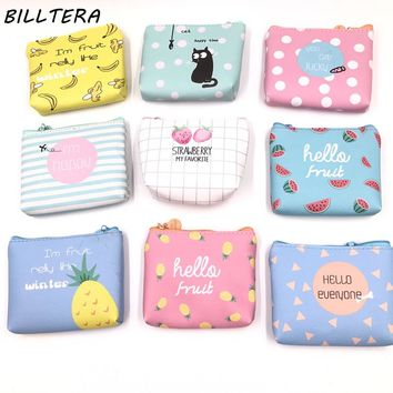Leather Purses Small Fresh Casual Pu Coin Wallet Lady Fashion Fruits Pattern Cartoon