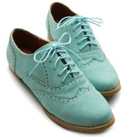 Ollio Women's Shoe Ballet Flat Faux Suede Wingtip Lace Up Oxford(5.5 B(M) US, Mint)