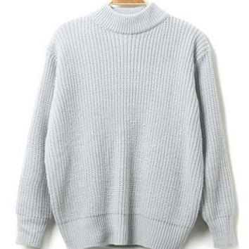 Grey High Neck Loose Sweater