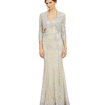VM By Mori Lee Lace Bolero Jacket Gown - Silver/Nude