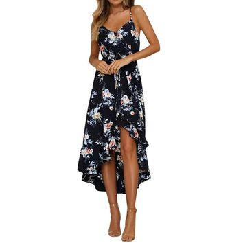 Bohemian style Womens Holiday Plunge dress sexy Ladies girls Maxi Long Summer Floral Print Beach Dresses vestidos de festa