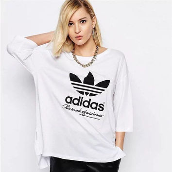 """""""Adidas"""" Female Leisure Loose Short in front long Short sleeve T-shirt"""