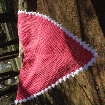 Pink Crocheted Triangle Shawl!
