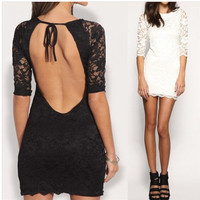 Stylish Hot Sale Sexy Backless Slim Lace One Piece Dress [4920576260]