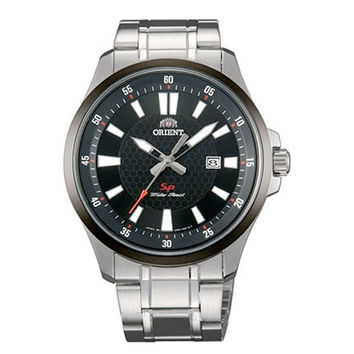 Orient UNE1001B Men's SP Black Dial Stainless Steel Bracelet Watch