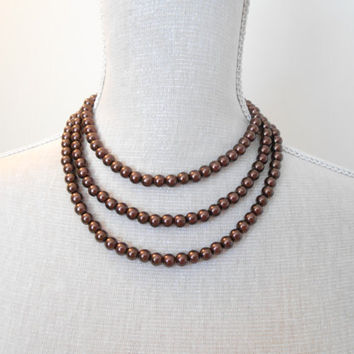 Brown necklace, Pearl necklace, Long necklace,  Wedding jewelry, Wedding necklace,  Bridesmaid necklace, Valentine gift, Mothers day