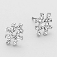 Rhinestone Hashtag Emoji Stud Earrings - Silver