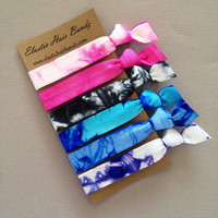 6 Tie Dyed Hair Ties - The Galaxy Collection - by Elastic Hair Bandz on Etsy