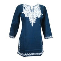 Mogulinterior Boho Blue Kurta Blouse Hand Embroidered Indian Tunic Top S