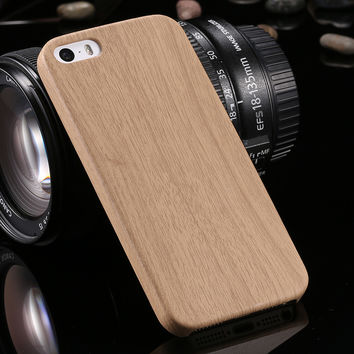 Retro Handmade Wood Grain Case For iPhone 7 7 Plus 6 6S Plus 5S SE Cover Bamboo PU Leather Wooden