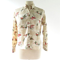 20% off sale Vintage 60s Blouse / Duck Hunt Novelty Print Shirt / 1960s Blouse / Large L