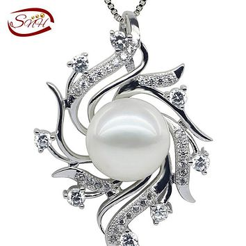 2017 New Drop Pearl Pendant , 925 sterling Silver Chain Necklace, Free Shipping White Freshwater Pearl Pendant