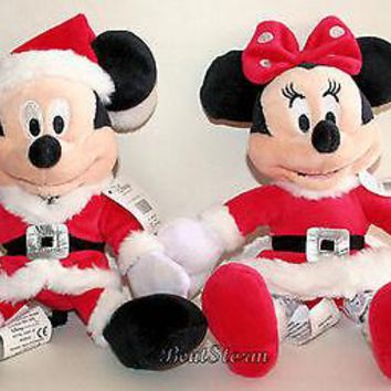 Licensed cool 2012 Disney Store Santa MICKEY MINNIE Mouse Holiday Plush Bean Bag Toy Doll Set