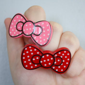RING HELLO KITTY bow ring pink or red polkadot by DeathwishDesign