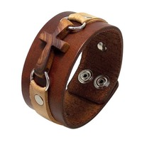 Cypress CrossLeather Cuff Bracelet - Tan on Brown