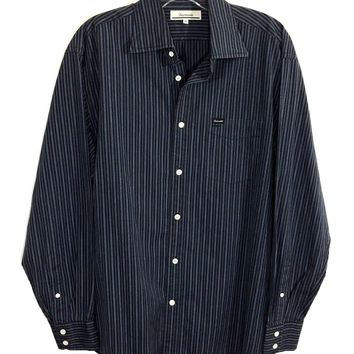 Faconnable Black Gray Striped Button Down Dress Shirt Pocket Mens Medium M - Preowned