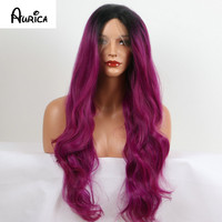 Long Purple Bodywave Synthetic Lace Front Wig