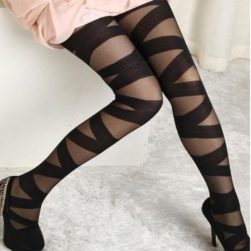 2017 Tights Women Sexy Pantyhose Black Ripped Stretch Binding Tights Vintage Style Female Binding Stocking Underwear