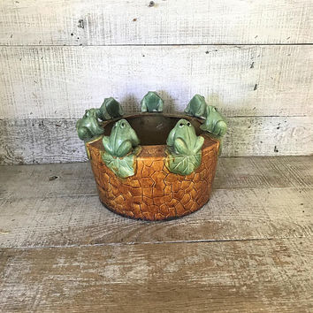 Planter Ceramic Planter Frog Planter Ceramic Frog Indoor Planter Outdoor Planter Garden Container Flower Pot Rustic Garden Decor