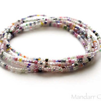 Set of Five Pastel Multicolor Stackable Seed Bead Stretch Bracelets, Stretchy Jewelry, Gift for Her