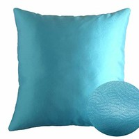"Cyan Blue 18"" x 18"" Decorative Solid Satin Square Throw Pillow Cases Cushion Covers Textured for Couch Sofa Bed"