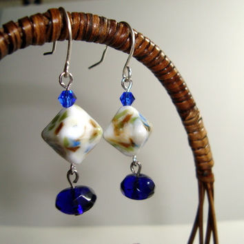 Beautiful Handmade Lampwork Glass Earrings on Sterling Silver Ear Wires - Handmade Blue, White, Tan Shades, Distinctive Design